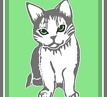 Grey and White Cat with Jade Eyes by AbigailDavidson