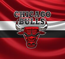 Chicago Bulls - 3D Badge over Flag by Serge Averbukh