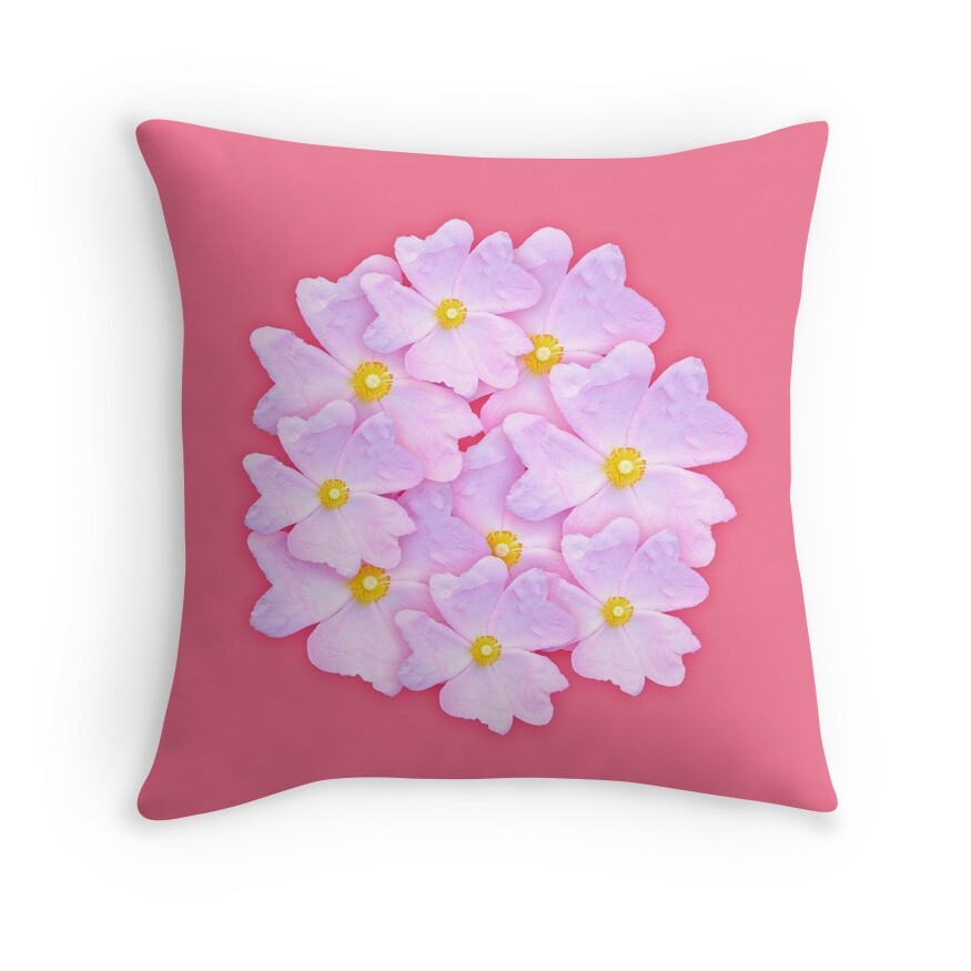 pale pink flower throw pillows by sthogan redbubble. Black Bedroom Furniture Sets. Home Design Ideas