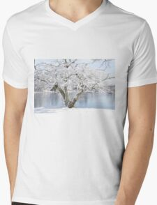 Winter blossoms - Cherry Tree  Mens V-Neck T-Shirt
