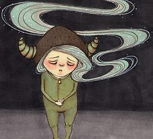 Sad Little Gnome Girl by Tiffany Dow