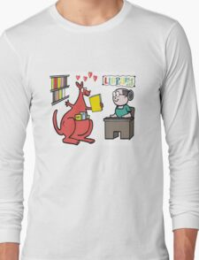 Cartoon of happy kangaroo taking out library book Long Sleeve T-Shirt