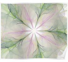Large Fractal Green Purples Poster