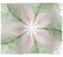 Large Fractal Green Purples Poster