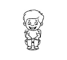 wc loo little boy sitting joy Photographic Print