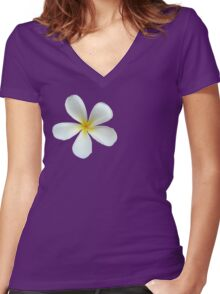 Frangipani - White and Yellow Women's Fitted V-Neck T-Shirt