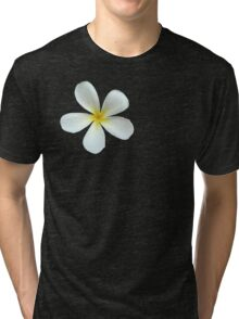 Frangipani - White and Yellow Tri-blend T-Shirt