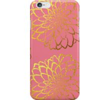 Dahlia on coral and gold pattern design iPhone Case/Skin