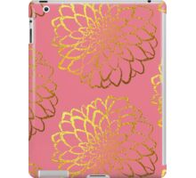 Dahlia on coral and gold pattern design iPad Case/Skin