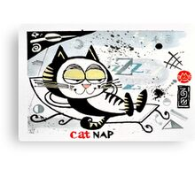 Cartoon illustration of happy cat taking a nap Canvas Print