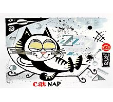 Cartoon illustration of happy cat taking a nap Photographic Print