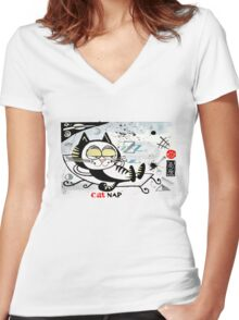 Cartoon illustration of happy cat taking a nap Women's Fitted V-Neck T-Shirt