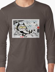 Cartoon illustration of happy cat taking a nap Long Sleeve T-Shirt