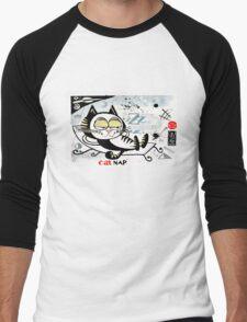 Cartoon illustration of happy cat taking a nap Men's Baseball ¾ T-Shirt