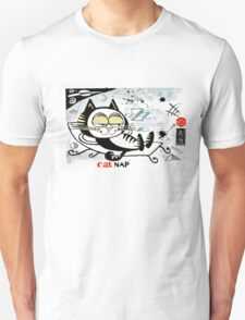 Cartoon illustration of happy cat taking a nap T-Shirt
