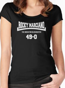 Rocky Marciano The Brooklyn Blockbuster 49-0 Logo Women's Fitted Scoop T-Shirt