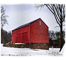 Red Barn White Snow 2 Poster