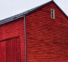 Red Barn White Snow 2 Sticker