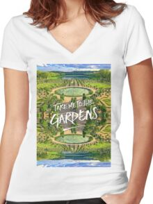 Take Me to the Gardens Versailles Palace France Women's Fitted V-Neck T-Shirt