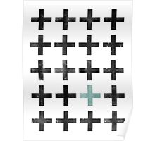 Teal and Black Swiss Cross Pattern Poster