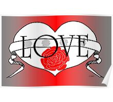 Rose Love Heart Design by Kat Worth Poster