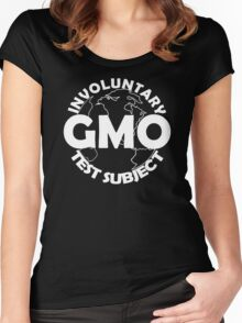 GMO TEST SUBJECT V2 ANTI-GMO SOY FRUIT VEGETABLES Women's Fitted Scoop T-Shirt