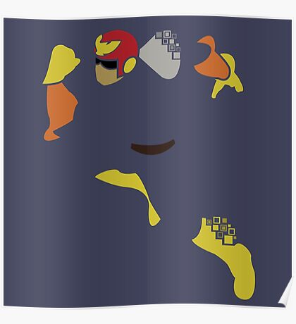 Captain Falcon Pixel Silhouette Poster