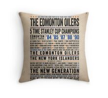 The Edmonton Oilers Dynasty Poster Throw Pillow