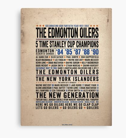 The Edmonton Oilers Dynasty Poster Canvas Print