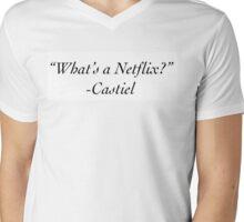 """What's A Netflix?"" -Castiel Mens V-Neck T-Shirt"