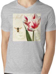 Natural History Sketchbook I Botanical study bumble bee, tulip Mens V-Neck T-Shirt