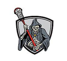 Grim Reaper Lacrosse Player Crosse Stick Retro Photographic Print
