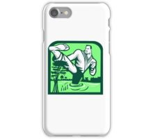 Martial Arts Fighter Kicking Cypress Tree Retro iPhone Case/Skin