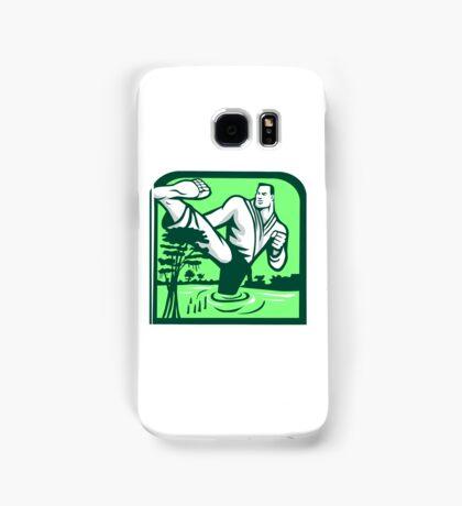 Martial Arts Fighter Kicking Cypress Tree Retro Samsung Galaxy Case/Skin