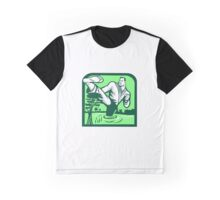 Martial Arts Fighter Kicking Cypress Tree Retro Graphic T-Shirt