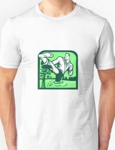 Martial Arts Fighter Kicking Cypress Tree Retro T-Shirt