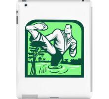 Martial Arts Fighter Kicking Cypress Tree Retro iPad Case/Skin