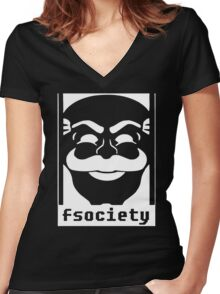 Mr. Robot TV Series Banksy Fsociety Women's Fitted V-Neck T-Shirt