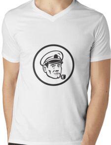 Sea Captain Smoke Pipe Circle Retro Mens V-Neck T-Shirt