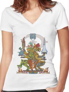 "Halo Inspired Maya design ""Gods Among""  Women's Fitted V-Neck T-Shirt"