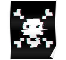 Pixel Skull Distort Poster