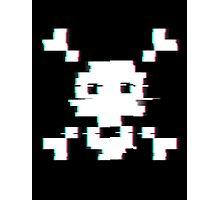 Pixel Skull Distort Photographic Print