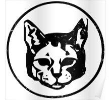 Cat Head (black) Poster