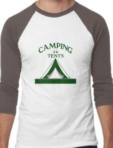 Camping is in Tents Outdoors Lover funny nerd geek geeky Men's Baseball ¾ T-Shirt
