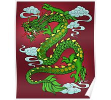 Chinese Dragon - Green on Red Poster