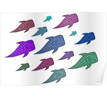 Colourful Whale Sharks Poster