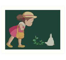Mei & Chibi Totoro Art Print