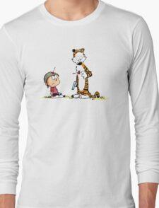 Calvin And Hobbes playing T-Shirt
