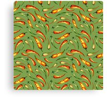 Watercolor seamless hand drawn pattern with red hot chilli peppers.  Canvas Print