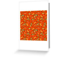 Watercolor seamless hand drawn pattern with red hot chilli peppers.  Greeting Card